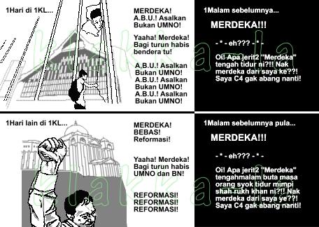 Kelakar 1Malaysia: Merdeka ada ke dalam buku kalau Prof Keling jadi Hakim? (1Malaysia Joke: Is Freedom found in the book if Prof Keling becomes Judge?) www.klakka-la.blogspot