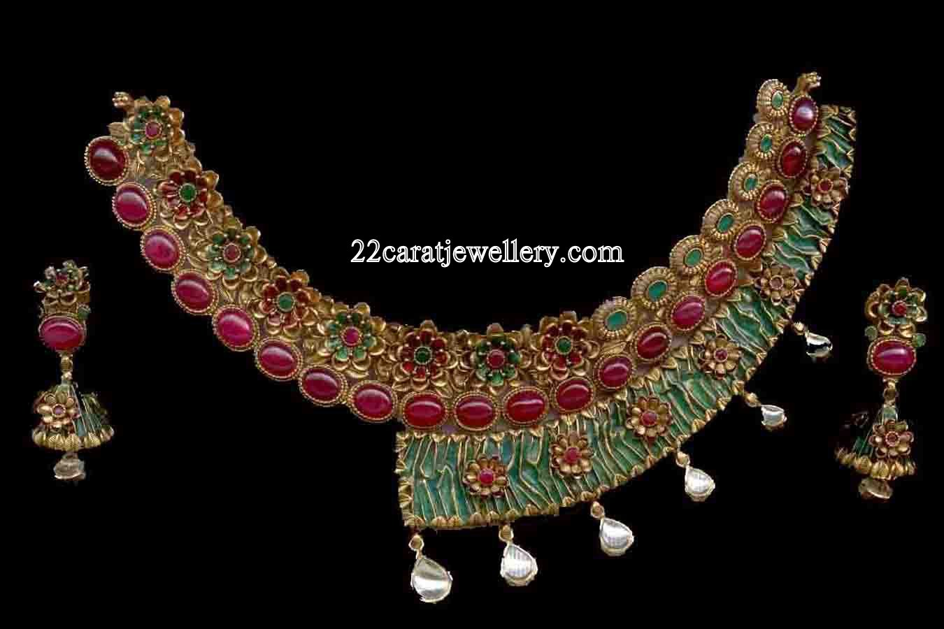 ruby antique necklace designs peacock jewellery
