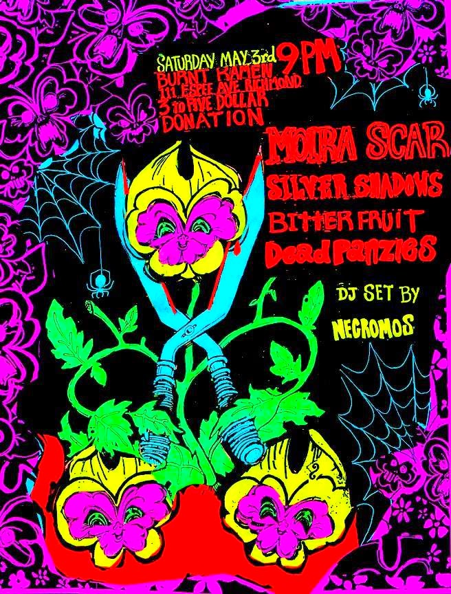 Burnt Ramen show, flyer by Jack Bradley of Bitter Fruit.