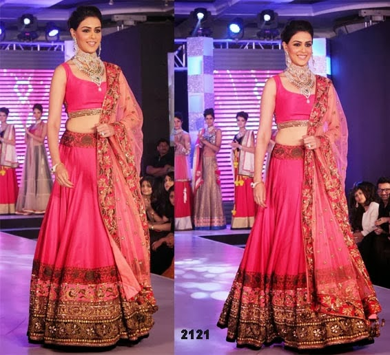 Genelia D'Souza In Designer Lehenga Choli walks for HVK Jewellery