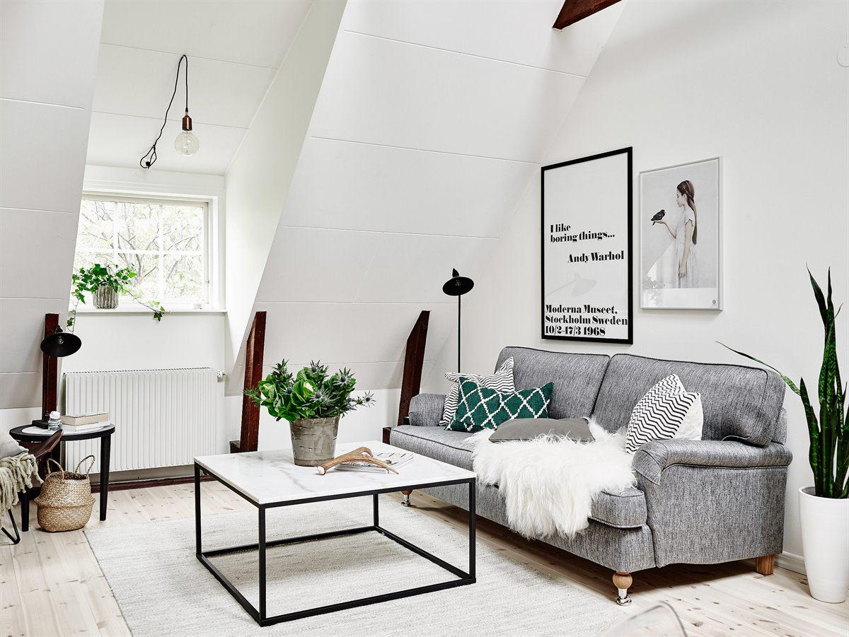 Patrze na ycie w zachwycie skandynawskie mieszkanie na poddaszu - Salon con estilo ...
