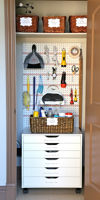 I First Started By Clearing All Of The Clutter Out Of The Closet And  Hanging A Piece Of Scrap Pegboard That I Found In The Garage.
