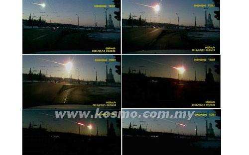 KOMBINASI gambar rakaman sebuah kamera video menunjukkan sebutir tahi bintang meluncur di langit Chelyabinsk, sekitar 1,500 kilometer ke timur Moscow, Rusia pada Jumaat lalu.