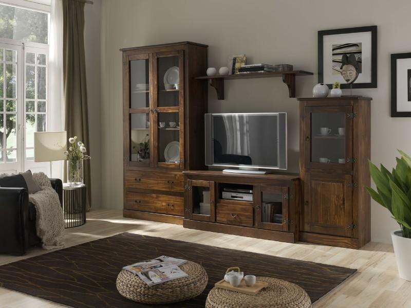 Karruzel del hogar muebles de salon rusticos - Muebles color nogal ...
