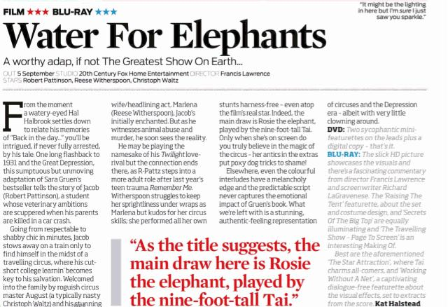 water for elephants review The tomatometer rating - based on the published opinions of hundreds of film and television critics - is a trusted measurement of movie and tv programming quality for millions of moviegoers it represents the percentage of professional critic reviews that are positive for a given film or.