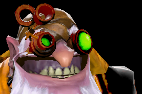 dwarf with goggles and big grin