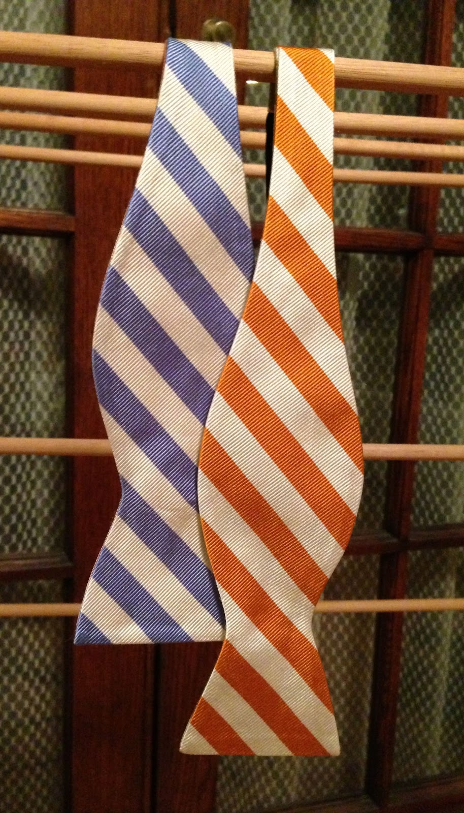 The First Two Color Panels Of The Jos A Banks Tie Are A Blue And White  Striped Section And An Orange And White Striped Section