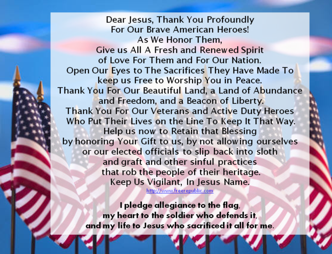 A Veteran's Day Prayer and A Pledge of Allegiance