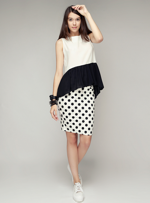 High Waist Polkadot Bodycon Skirt