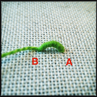 Broderi sting tutorial. Bullion knot knude. Trin 4.