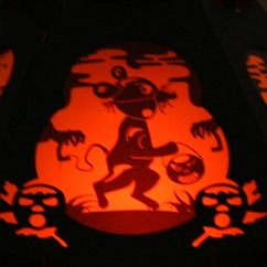 Detail of Halloween lantern showing mouse from The Pumpkin Dream by Bindlegrim