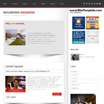 Mularonis Magazine blogger template. blogger template adapted from wordpress theme. blogger template with featured image slider. blogger template magazine style