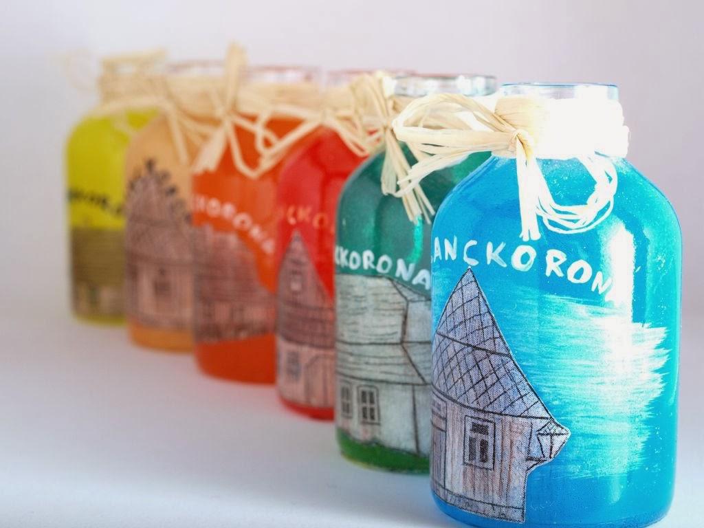 malowane słoiczki butelki hand made z motywem Lanckorony