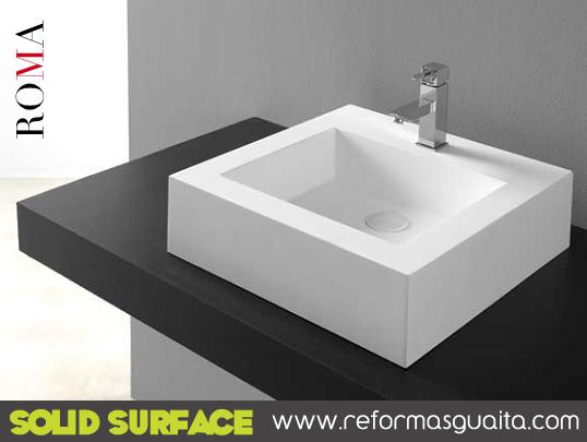 Lavabos square cuadro y roma en solid surface reformas - Encimeras corian precios ...