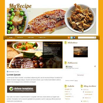 My Recipe blogger template. template blogger with image slideshow. blog template magazine style