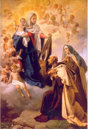 San Juan y santa Teresa arrodillados ante la Virgen del Carmen con angelitos alrededor