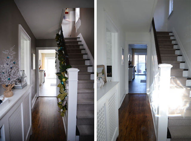 White hallway | Benjamin Moore Simply White | Ramblingrenovators.ca