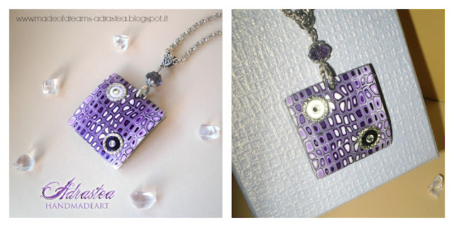Polymer clay purple pixelated pendant