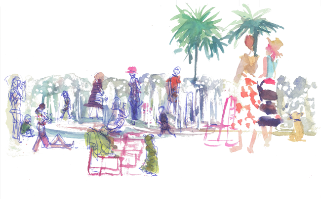 "Shiho Nakaza ""Los Angeles"" summer ""Grand Park"" sketching sketchcrawl watercolor pen people park kids"
