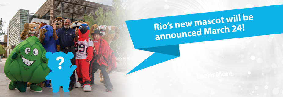 Rio's new mascot will be announced March 24!  Images of other Maricopa Colleges Mascots surrounding Chancellor Dr. Rufus Glasper