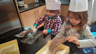 making chocolate eggs