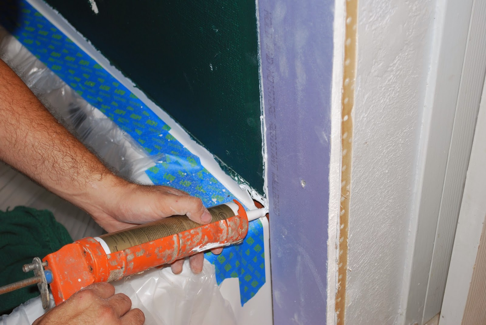 caulk waterproof sheetrock shower