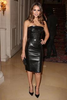 Jessica Alba Black Leather Dress