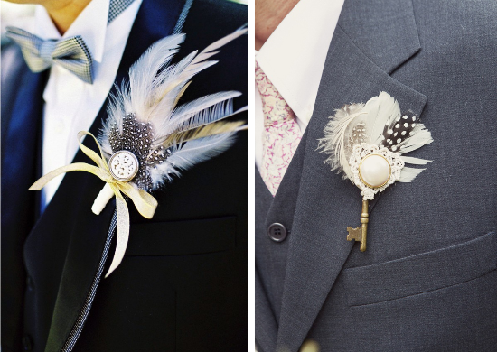 feathers wedding, roaring 20s wedding, feather bouttonieres