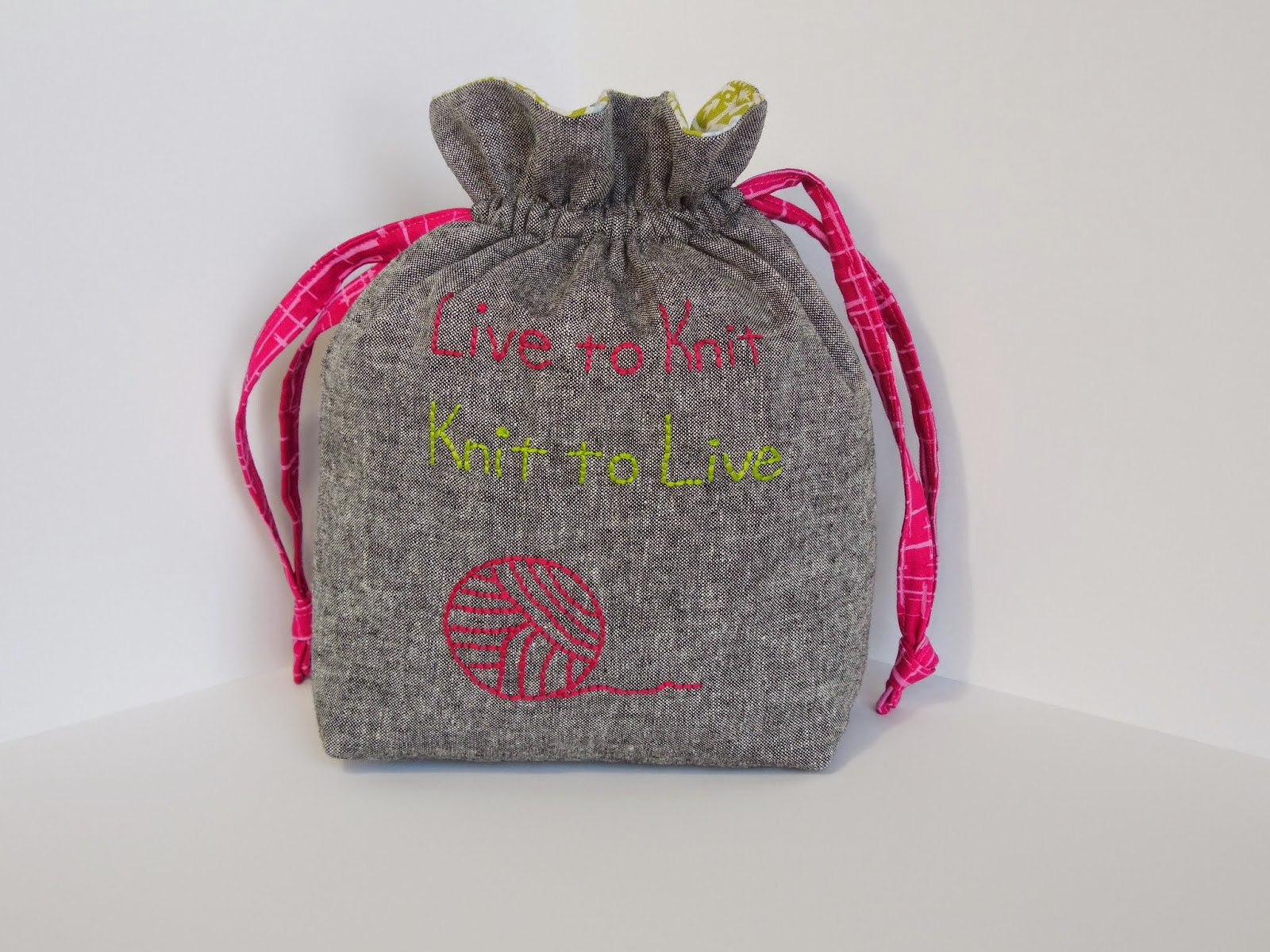 hand embroidered drawstring knitting bag