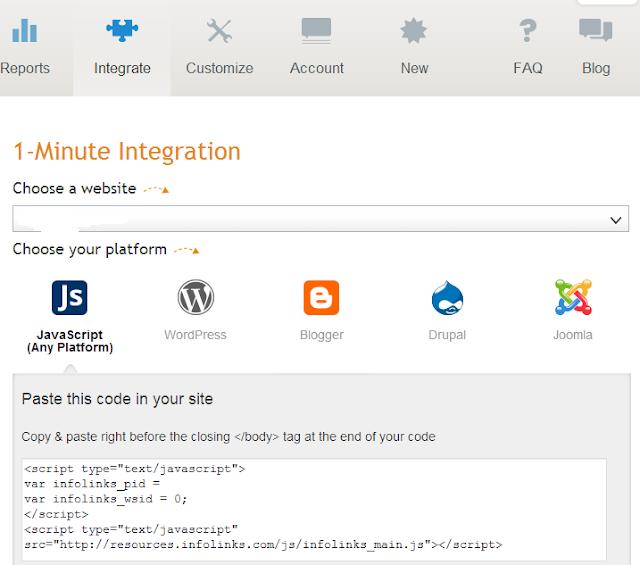 Add infolinks code to blogger blog