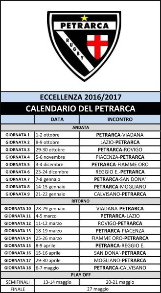 Calendario incontri del Petrarca ss 2016-17