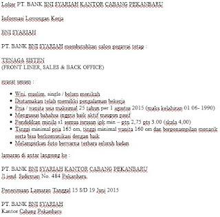 Loker PT. BANK BNI SYARIAH KANTOR CABANG PEKANBARU