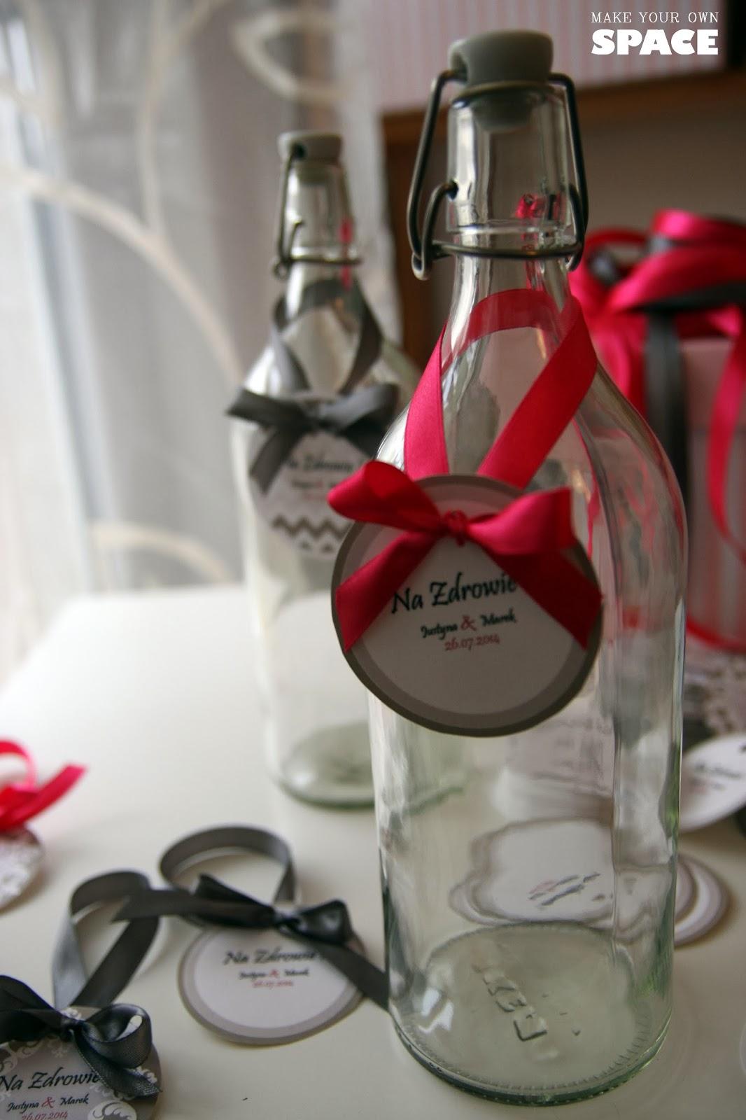 butelka, zawieszka, alkohol, wesele, Diy