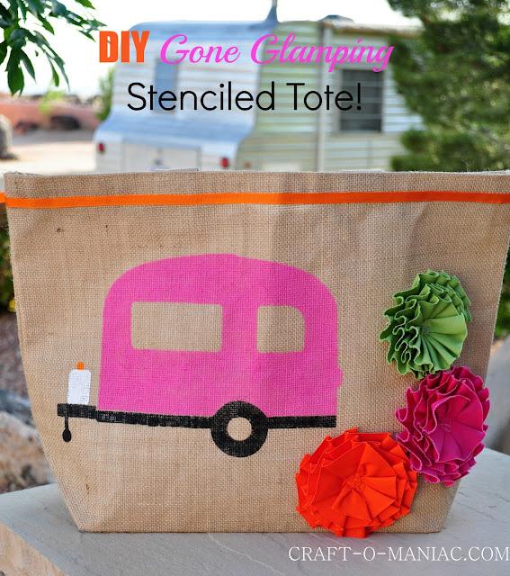 DIY Stenciled Camper Bag www.craft-o-maniac.com