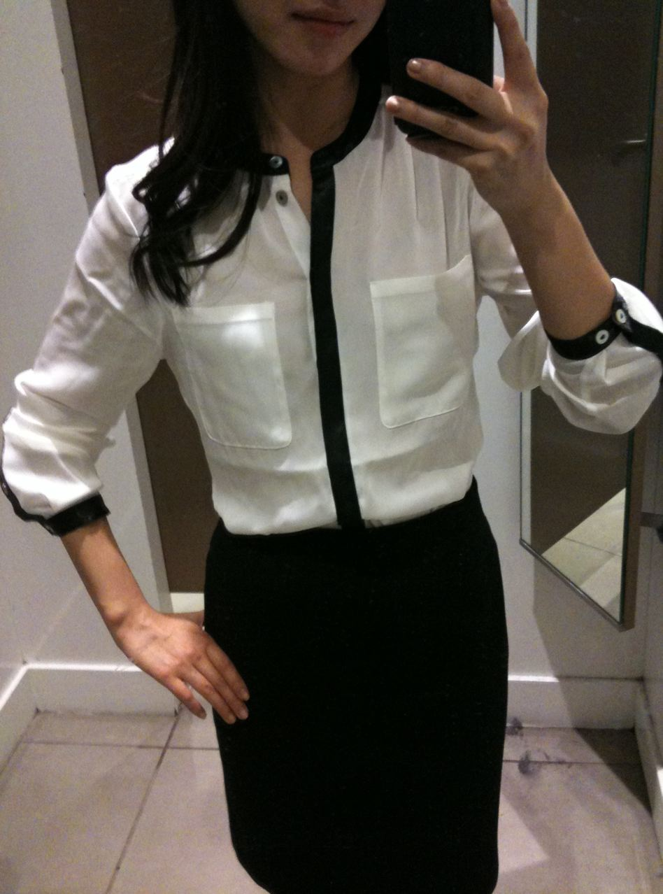 Women'S White Blouse With Black Trim - Long Sleeved Blouse