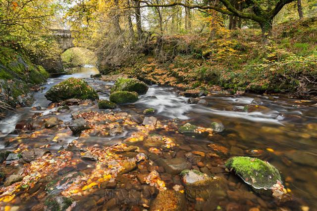 The Afon Mellte in the Brecon Beacons with small arched bridge by Martyn Ferry Photography