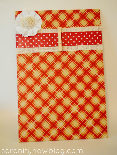 Decorative Thanksgiving Memo Board with Fabric Rosette, Serenity Now