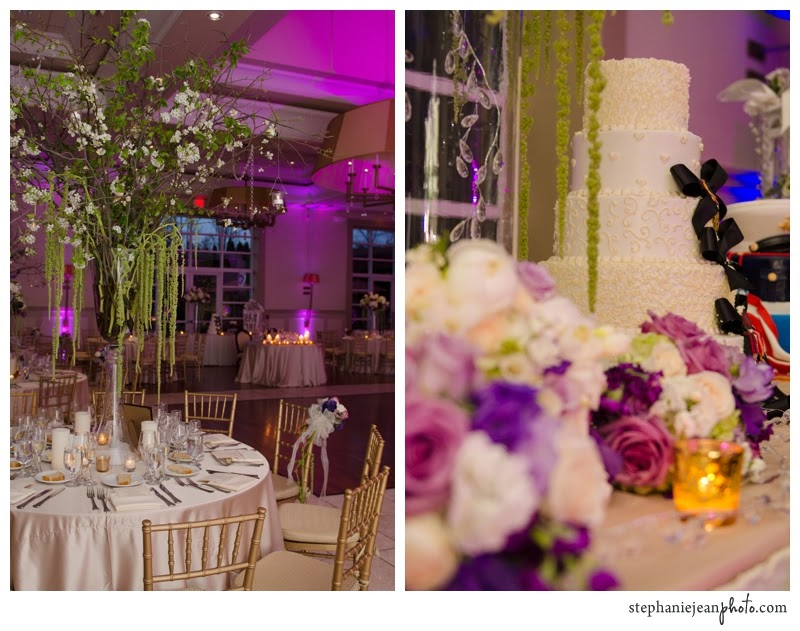 Wedding Table and Cake Design Uplighting at the Stone House at Stirling Ridge