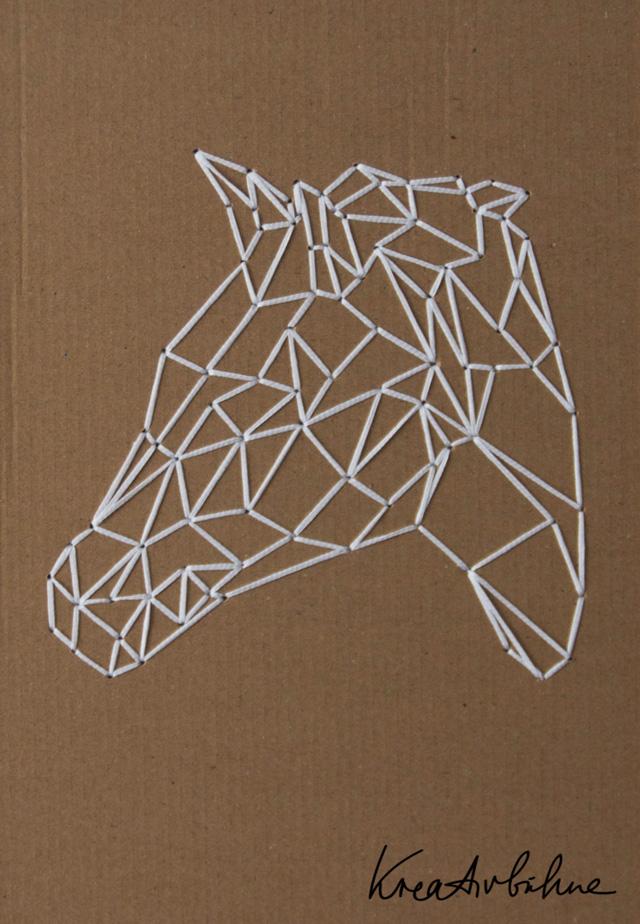 Wanddeko Pferdekopf sticken