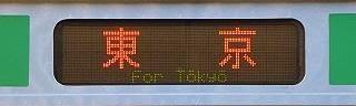 東海道線E231系の側面行先 東京
