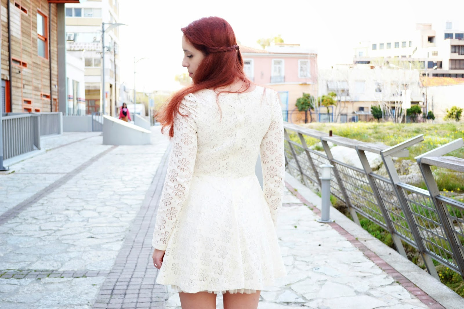 Anna ,Keni,redhead, spotlights on the redhead,fashion,model,blogger, oasap, dress, white, lace, rings and tings, pearl, necklace, heart, ring, spring, review,outfit,zara, shoes,