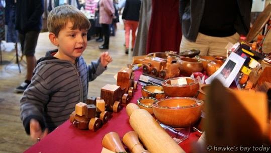 Oliver Moody, 4, Napier, product by Rochfort Woodturning, Havelock North - The Great Winter Warm-Up Craft Market, Army Drill Hall, Coote Rd, Napier photograph