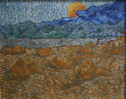 Landscape with wheat sheaves and rising moon.