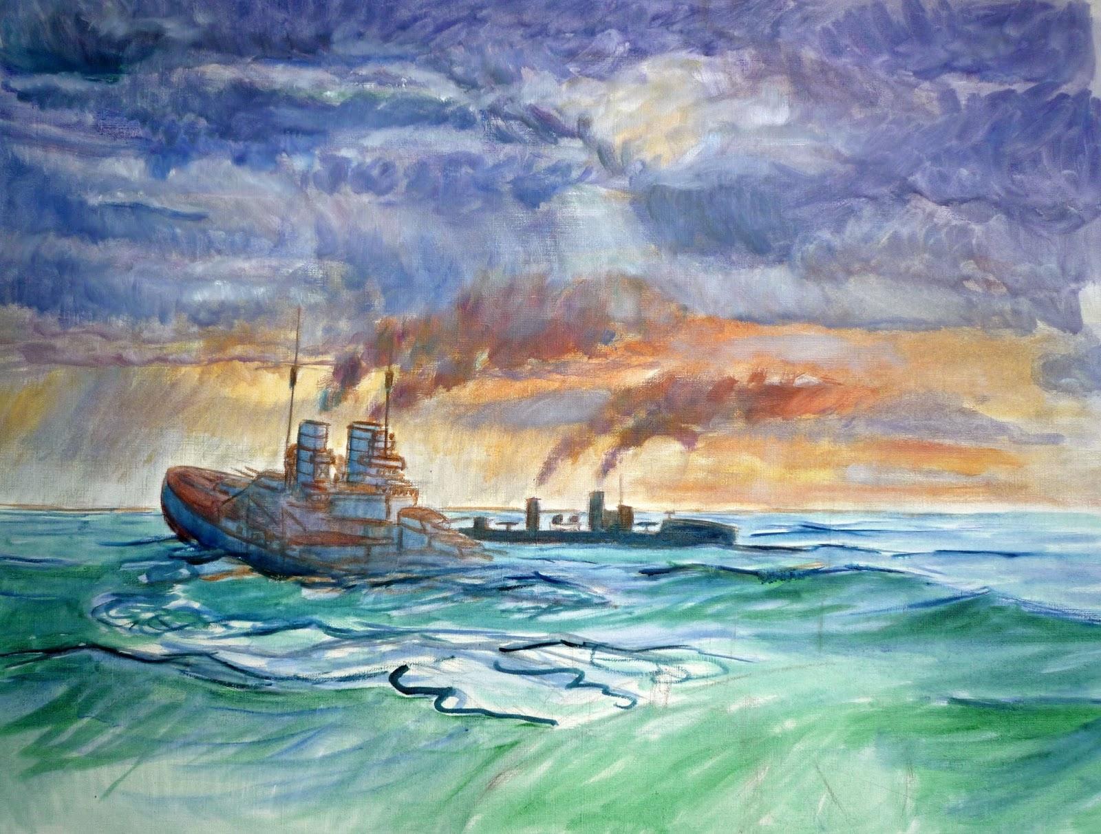 Boceto oleo SMS Lutzow hundiendose - extracto del cuadro
