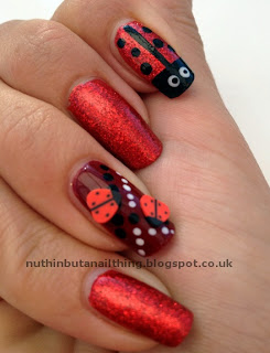 red ladybird ladybug nails