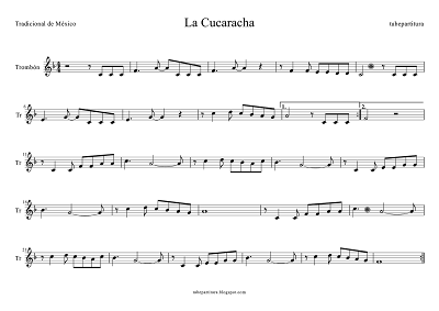 Tubepartitura La Cucaracha partitura para Trombón Canción popular mexicana