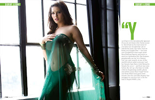 Sunny Leone in FHM India May 2012- Green Transparent Saree