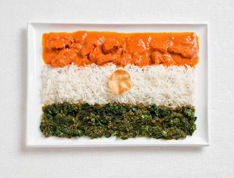 India- Curries, rice, pappadum wafer