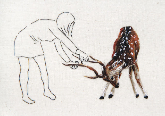 by ana teresa barboza   graphite and embroidery on cloth