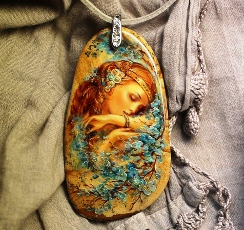 miniature painting on natural stone